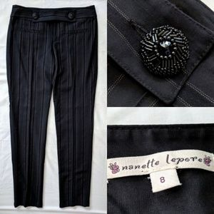 Nanette Lepore Pinstriped Beaded Dress Slacks sz 8
